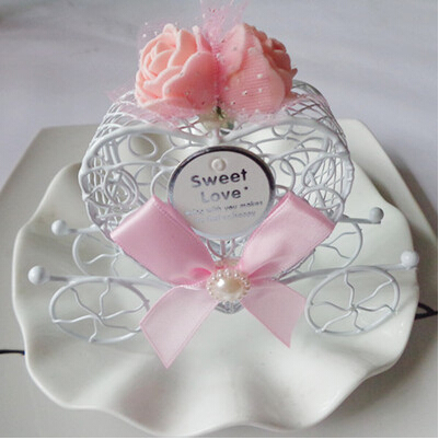 Royal Carriage Wedding Case Candy Heart Box Luxe Gift Favours Metal Rose Ribbon LIGHT PINK(China (Mainland))