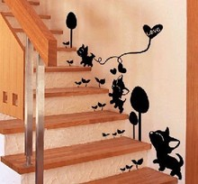 Stair decoration wall stickers home accessories kitten wall covering