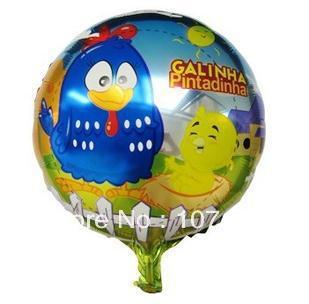 Free shipping wholesale 50pcs/lot foil helium balloons Galinha pintadinha mylar balloon ,Chicken cartoon ballon(China (Mainland))