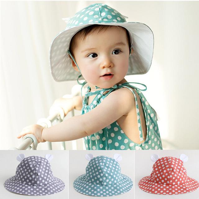 Удивительные горячей девочка шлем ведра с точкой летняя шляпа дети дети шляпа солнца Sunbonnet для 3-24 месяцев прямая поставка