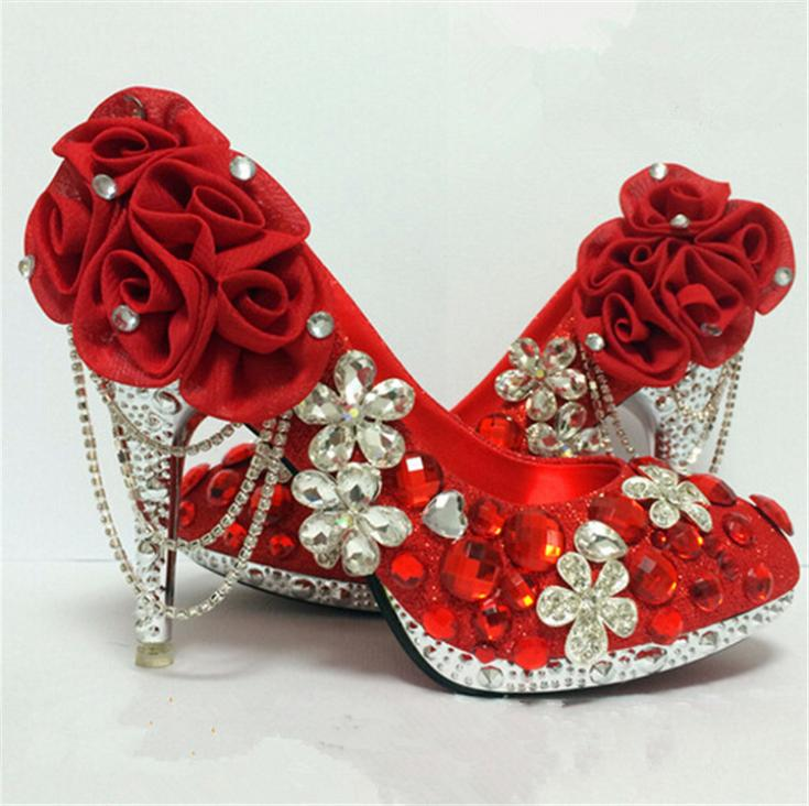 Free shipping 2015  handmade beautiful red rhinestone wedding shoes round toe flowers dress bridal shoes high heel single shoes<br><br>Aliexpress