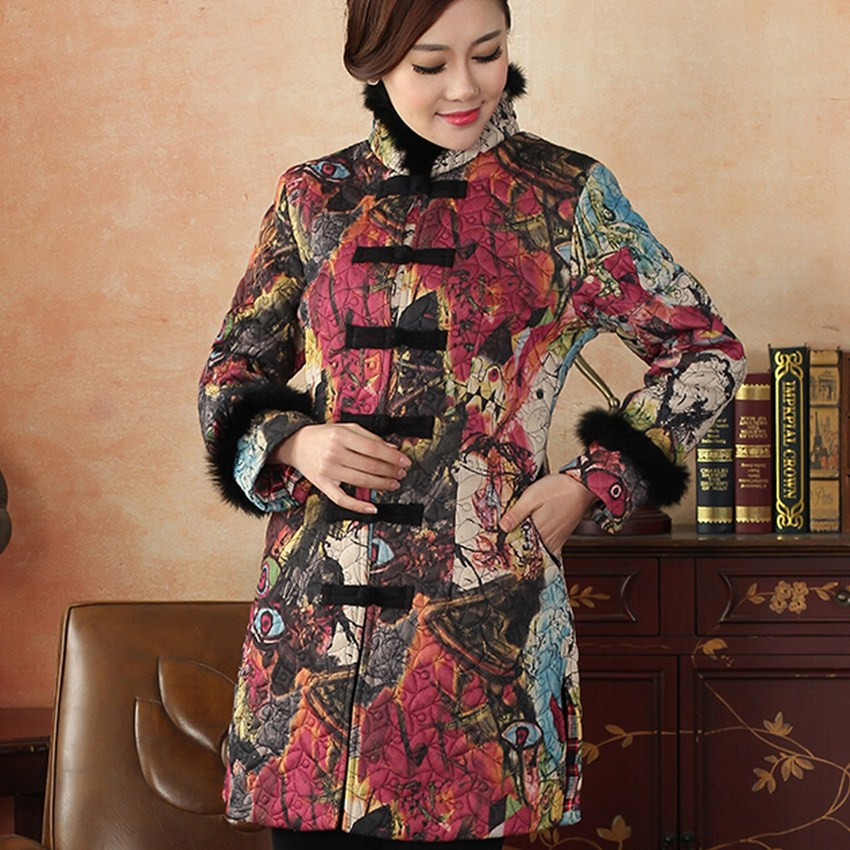 New Arrival Autumn Winter Chinese Traditional Womens Hair Collar Thin Lengthen Wadded Jacket Coat M L XL XXL 3XL  CN31141Одежда и ак�е��уары<br><br><br>Aliexpress