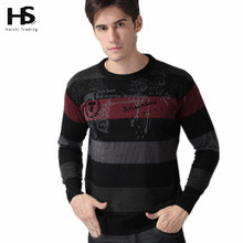 Cashmere Sweater Men 2015 New arrival Mens Sweaters Striped Printed Wool pullover Men O Neck Pull Homme Brand Men's Clothing OEM