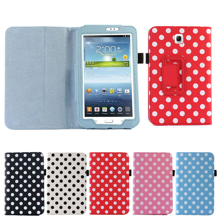 "Rainbow Polka Dot Leather Case Cover Stand For Samsung Galaxy Tab 3 7.0"" 7"" P3200 Black Wholesale Cell phone protector(China (Mainland))"
