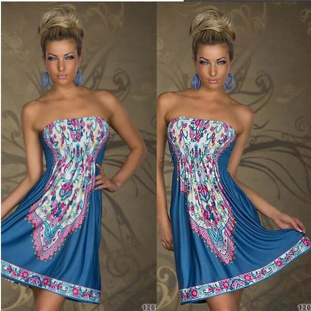 2016 New FASHION Plus SIZE M-XXL European and American club clothing nightclub sexy halter print bohemian Bra dress QZ-079(China (Mainland))