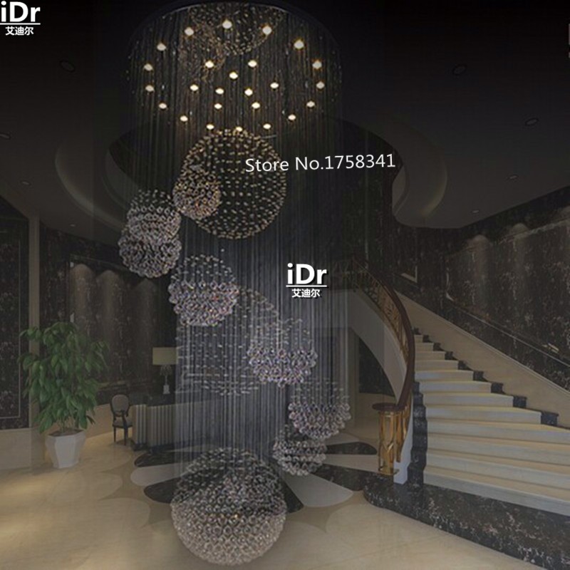 new modern hotel lobby big crystal chandelier /staircase chandelier Dia90xH300cm,contemporary crystal lighting RD-02(China (Mainland))