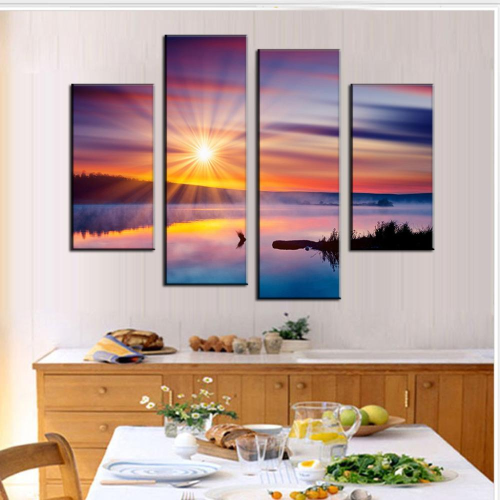 4 Pcs/Set Combined Landscape Painting Colorful Sunset Glare Decorative Picture Canvas Wall Art Picture(China (Mainland))