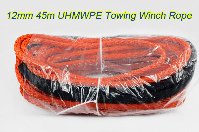 12MM*45Meters Winch Cord UHMWPE Towing Winch Rope with thimble Free Shipping(China (Mainland))