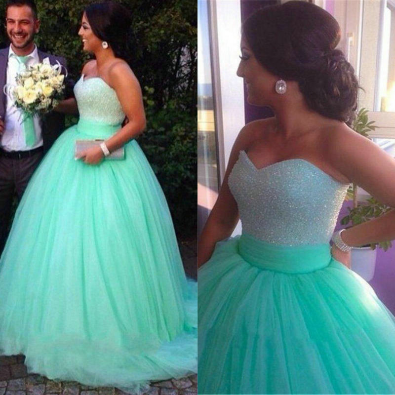 Sparkly Ball Gown Corset Wedding Dress Pearls Sweetheart: Sequins Beaded Sweetheart Bodice Corset Mint Prom Dress