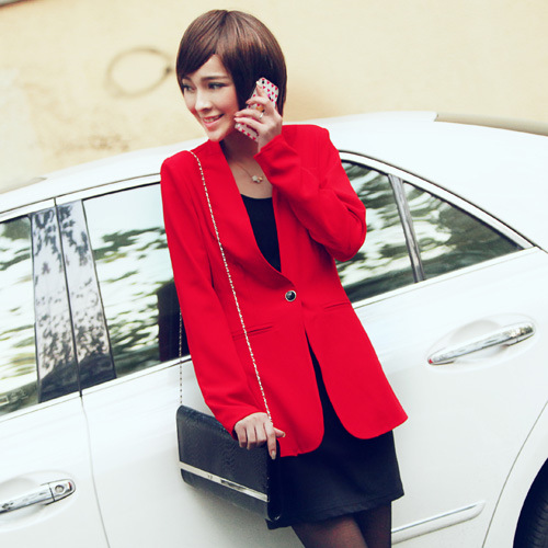 0086 real pictures model 2013 autumn one button shoulder pads long-sleeve slim waist small suit jacket - jim yue's store