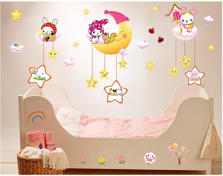Free shipping New 2015 Removable Vinyl Moon rabbit Cartoon Wall Decals Nursery baby room Wall Stickers(China (Mainland))