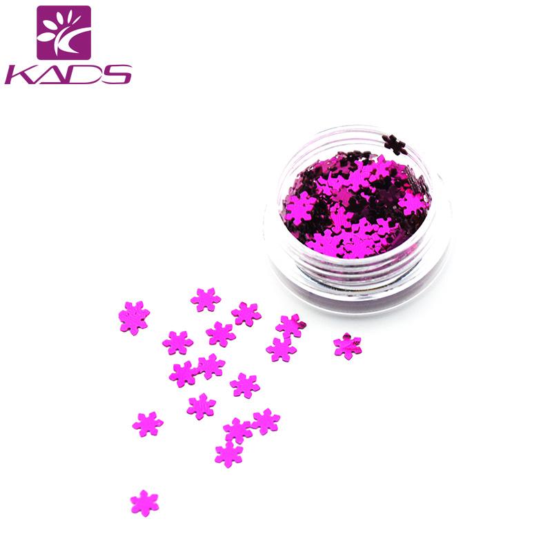 KADS 1PC/BOX Purple Red Snow Flake Design Nail Glitter Powder Dust 3D Manicure Design UV Gel Polish DIY Accessories For Nails(China (Mainland))