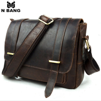 2015 vintage 100% cow genuine leather men messenger bags for men casual style crossbody bags for men,bolsas male free shipping