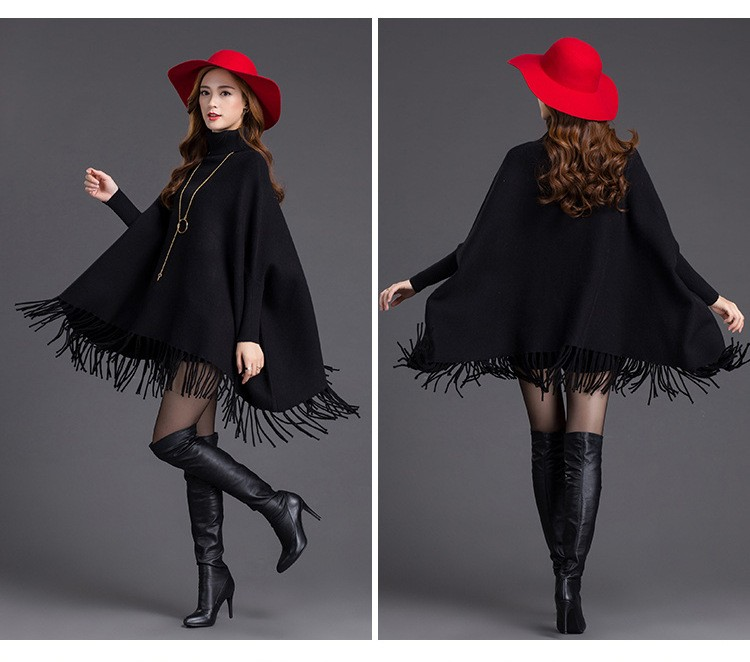 Women Batwing Sleeve Europe America New Winter Solid Color Tassels Hem Style Cloak Cape Tops Knitted Poncho Sweater Coat Shawl