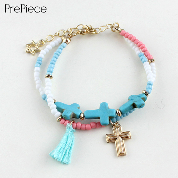 PrePiece Women Beads Cross Turquoise Friendship Bracelet Lovely Bangle Hot Elegant Cheap Jewelry Accessories 2015 New PB0089(China (Mainland))