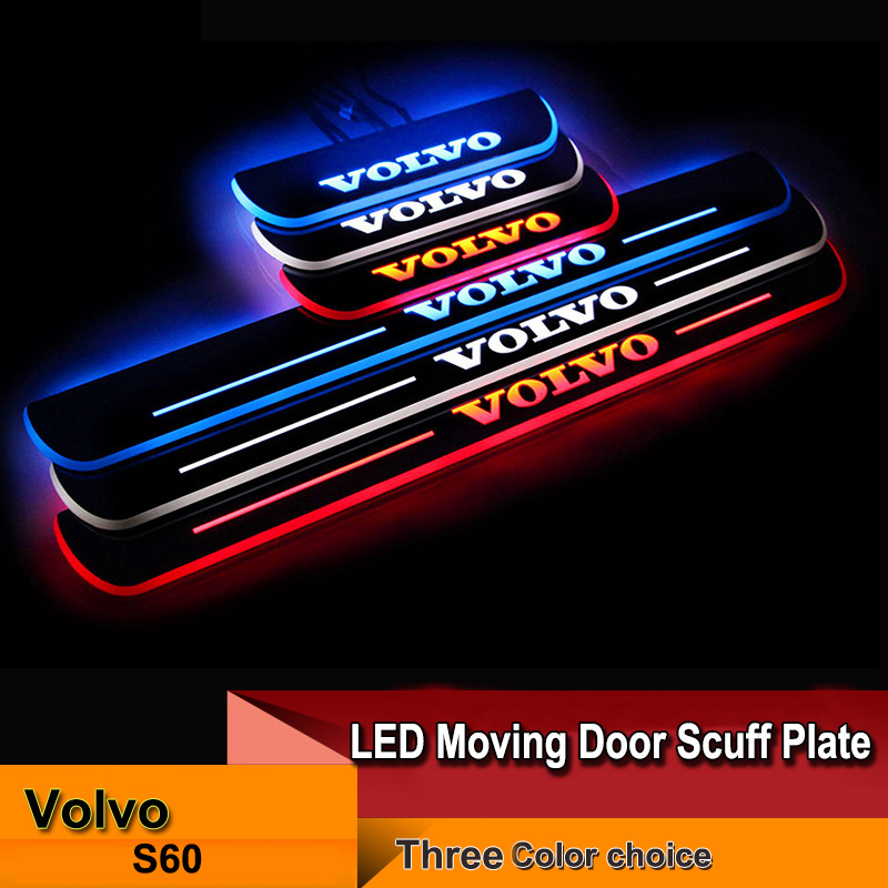 4pcs free shipping hot sale Car LED moving door scuff for Volvo S60 2015-2016 front /rear door white blue red High quality(China (Mainland))