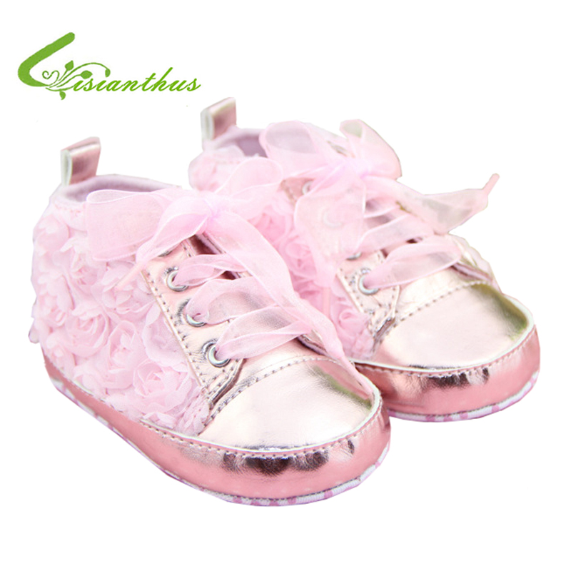 Retail Baby Girl Shoes Cute Lace Rose Flower Infant Shoes Lace-up Casual Toddlers Footwear Soft Sole Sneakers Drop Free Shipping(China (Mainland))
