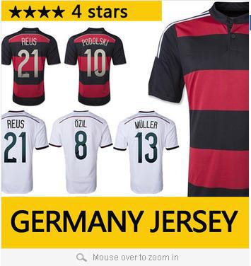 Top quality 4 stars Germany Jersey 2014 OZIL Muller Klose GOTZE Germany World Cup 2014 Soccer Jersey alemanha Football Shirt(China (Mainland))
