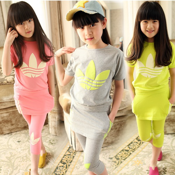 ! Clearance Sale! summer children's clothing print elastic female big boy casual set child sports - Michelle's Fashion Store store