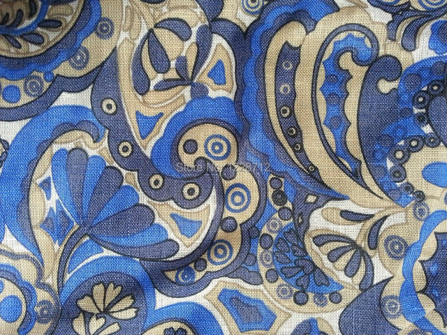 55 lin 45 coton tiss impression froiss tissu bleu fleurs impression dans tissu de maison. Black Bedroom Furniture Sets. Home Design Ideas