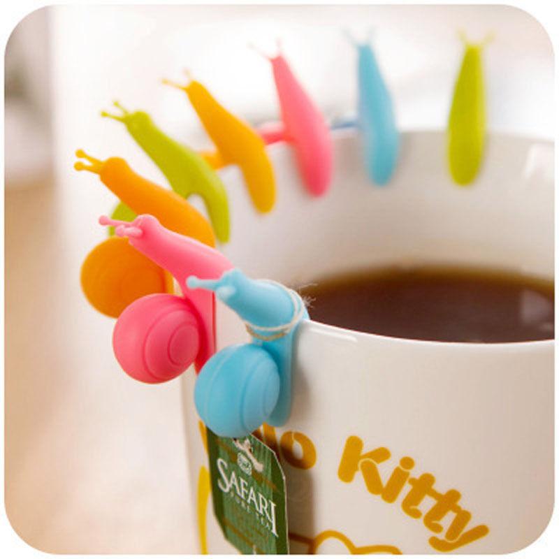 5 PCS Random Color!! Cute Snail Shape Silicone Tea Bag Holder Cup Mug Candy Colors Gift Set TOP(China (Mainland))