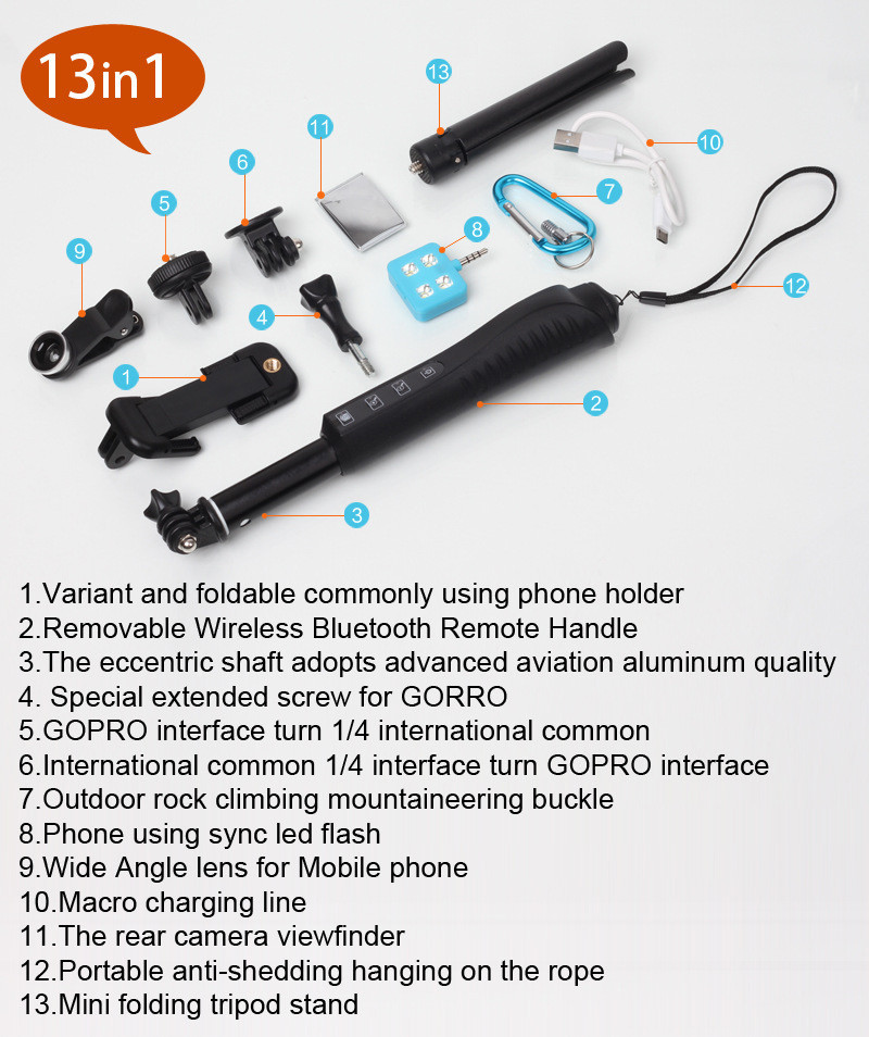 rk88e wireless bluetooth zoom selfie stick monopod for iphone android smart cellphone cameras. Black Bedroom Furniture Sets. Home Design Ideas