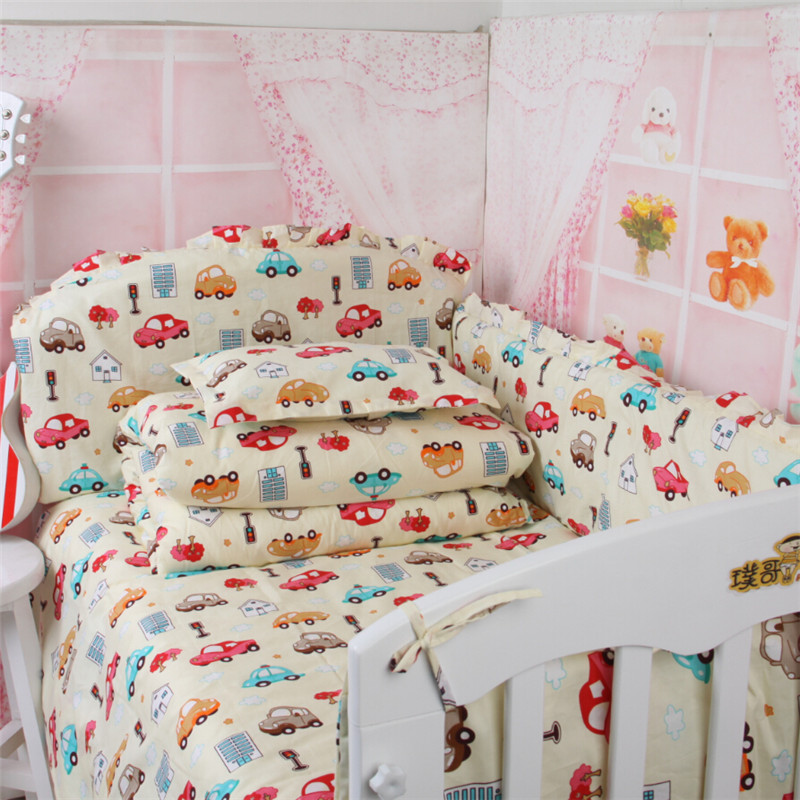 Baby boy crib set Cot set bedding baby.Bedding for babies in a crib 100% cotton Free New set Crib Quilt baby bed bumper Sheet(China (Mainland))
