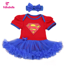 New Style Newborn Dress Baby Clothes Girls Superman Red Rompers Blue Ruffle Toddler Tutu Dresses Girl Party Clothes(China (Mainland))