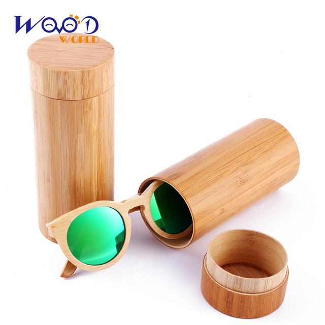 Круглый дизайн бамбука солнцезащитные очки цвета линзы и очки случае