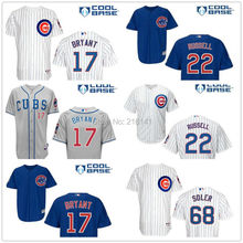 Stitched 2015 Chicago Cubs #17 Kris Bryant Jerseys #22 Addison Russell #68 Jorge Soler Blue White Gray Baseball Jerseys, M-XXXL.(China (Mainland))