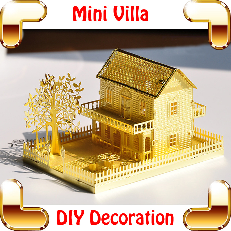 Girlfriend Gift P028-G Mini Villa 3D Model Building Golden House Mini Alloy Puzzle Toy Romatic DIY Decoration Metal Frame Detail<br><br>Aliexpress