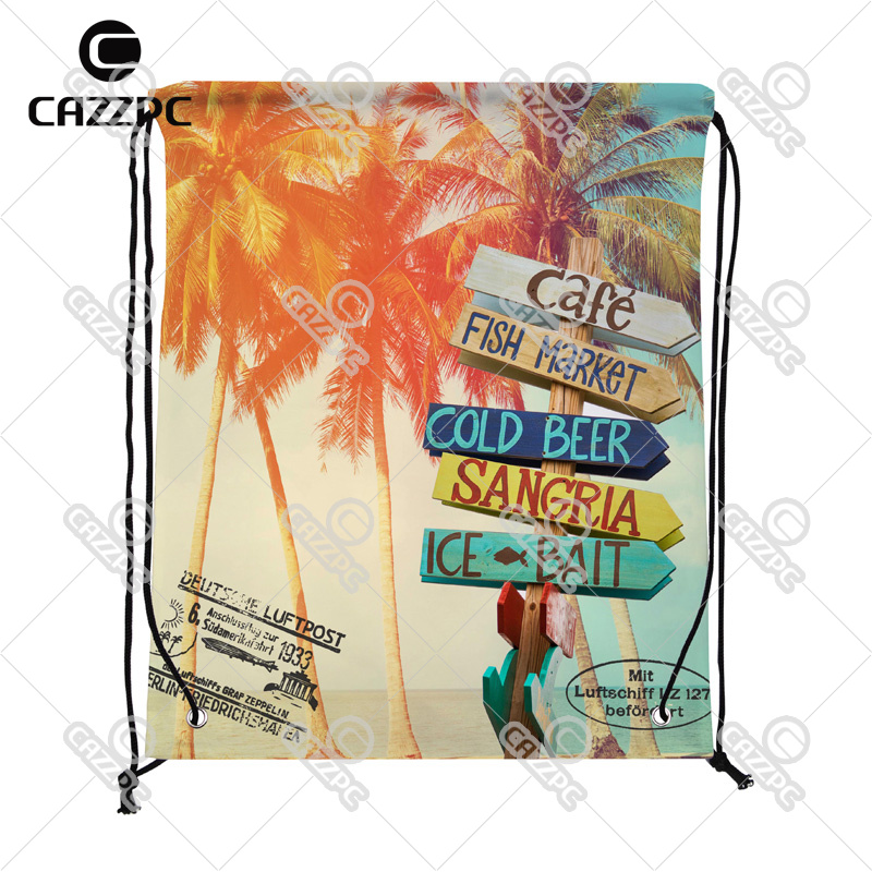 Summer Style Palm Trees at Tropical Postcard Print Custom individual Nylon Fabric Drawstring Shoes Storage Dust Bag Pack of 4()
