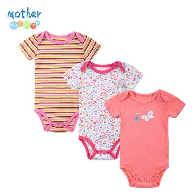 3 PCS 2016 Baby Boy Girl Short Sleeve Cotton Romper Children O-neck Body for 0-12 M Babies Clothing Baby Girl Clothes