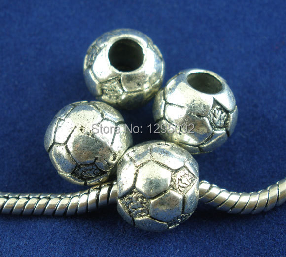 350Pcs Wholesale Silver Tone Sport Soccer Football Spacers Beads Fit European Charms Necklaces &amp; Bracelets Jewelry 11x10mm<br><br>Aliexpress