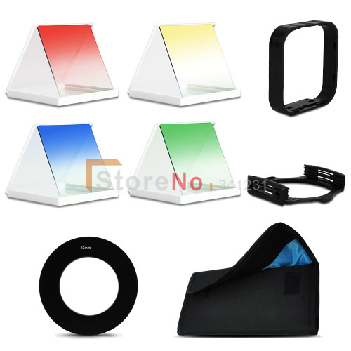 100% New Color Square Filter + Filter Pouch case with 6 Pockets +Filter Hood & Holder + 49MM Ring Adapter  for Cokin P