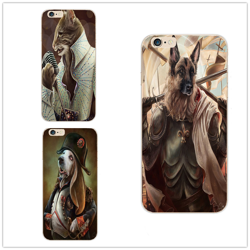 Phone Case For Apple iPhone 4 4S 5 5S 5C 6 6S 6Plus 6sPlus hard shell After the lid Cover Cute Hand painted Cat dog Animal Case(China (Mainland))