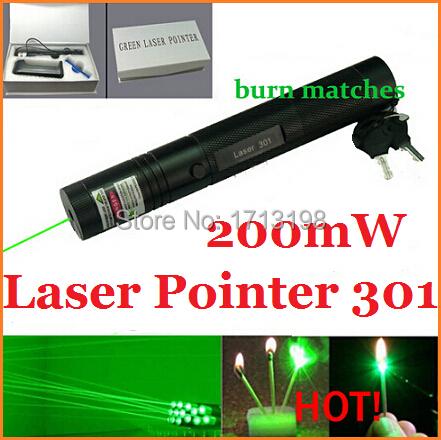 PROMOTION! Laser Pointer 200mW Green Laser Pen Item 301 Burning Matches With Gift Box+Safe Key(China (Mainland))