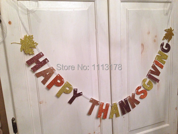 Happy Thanksgiving Banner -- Glitter Banner / Thanksgiving Decoration / Photo Prop personalized garland(China (Mainland))