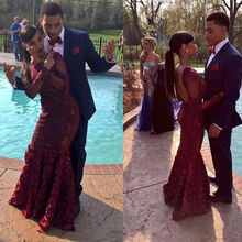 Modest Prom Gowns 2017 Burgundy African Prom Dress Sexy Scoop Neck Floor Length Backless Burgundy Flower Mermaid Prom Dress(China (Mainland))