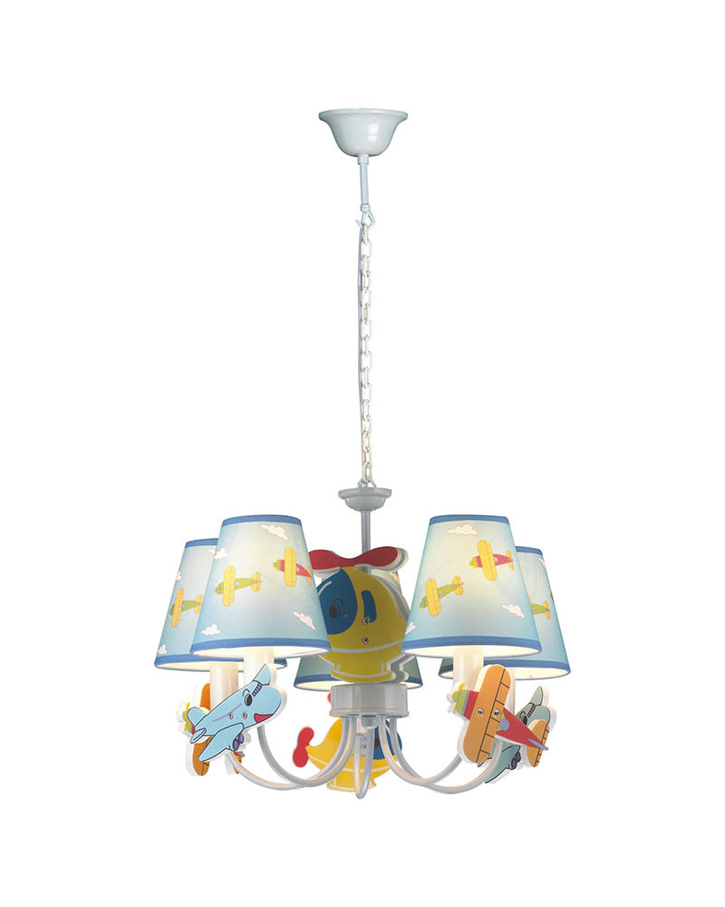 5 Lights Cute Cartoon Airplane Theme Multicolored Chandelier Lamp Bedroom LED Light for Children's Room MD80695C(China (Mainland))