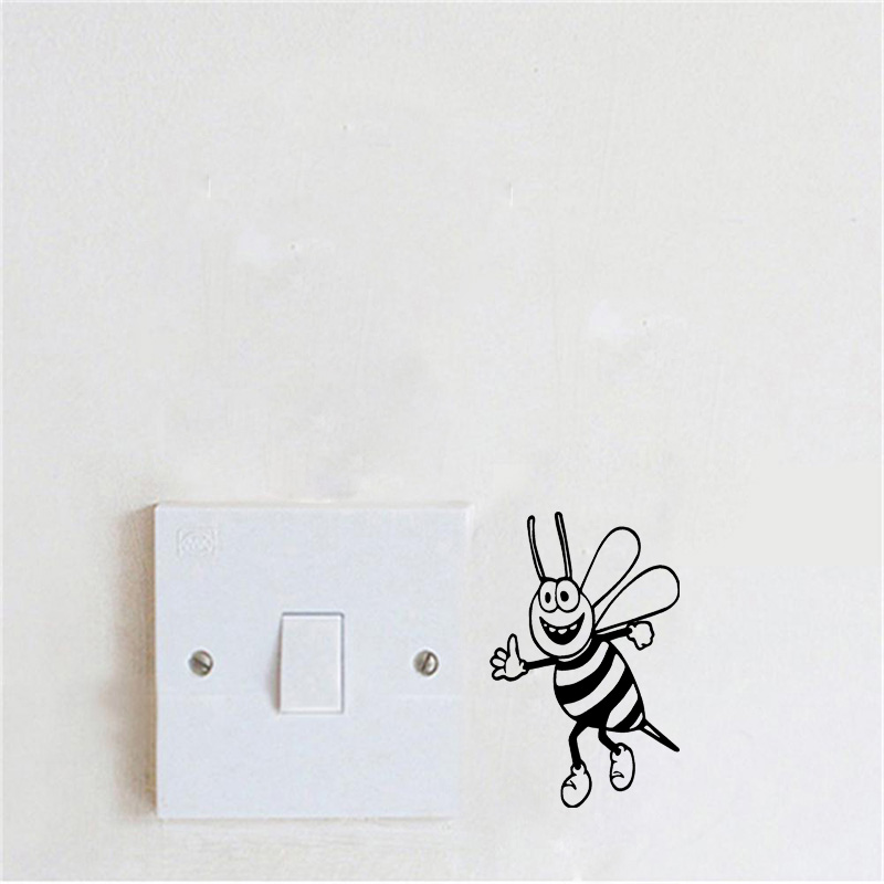 Bee Bumble Honey Flower Switch Sticker Funny Removable Vinyl Wall Stickers For Kids Rooms 2WS0439(China (Mainland))