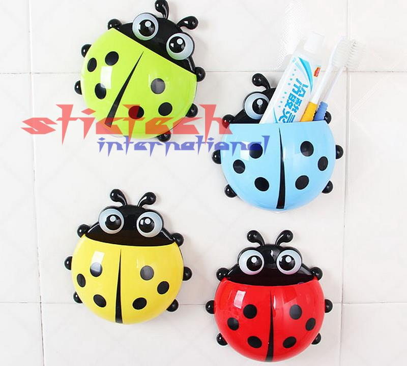 by dhl or ems 1000 pieces Fashion Ladybug Toothbrush Wall Suction Bathroom Sets Cartoon Sucker Toothbrush Holder Suction Hooks(China (Mainland))