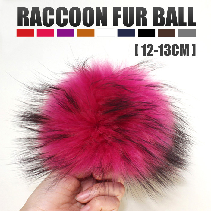 Wholesale Colorful Raccoon Ball With Press Stud Fur Pom Poms In Bulk For Women Hat Cap Beanies Fur Accessories In Apparel(China (Mainland))