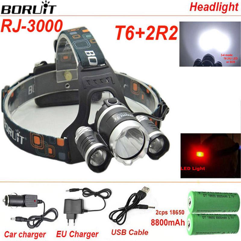 Boruit RJ3000 Headlamp led Headlight 8000lm CREE T6 Waterproof Rechargeable 18650 LED light 18650 battery car charger(China (Mainland))