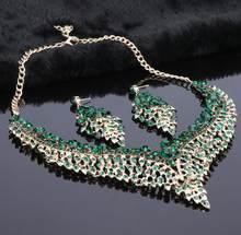 עלה סטי תכשיטי כלה לנשים עגילי סטי תכשיטי חתונת שרשרת הצהרת גביש גדול(China)