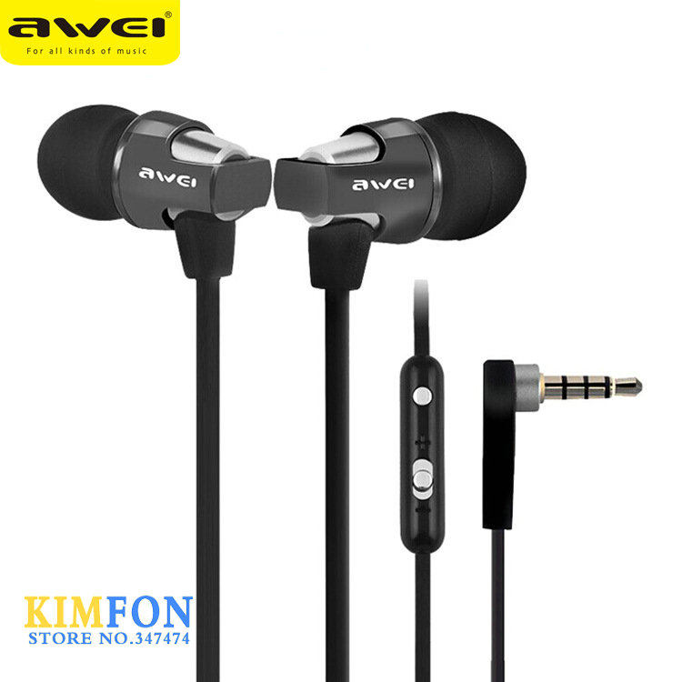 DHL Fedex UPS 100pcs AWEI ES-860hi Stereo in-ear Earphones Cell Phone Headsets Headphones With Mic button(China (Mainland))