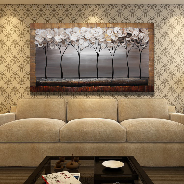 Buy Abstract Oil Painting Trees Knife Hand painted Painting On Canvas Wall Pictures For Home Decor cheap