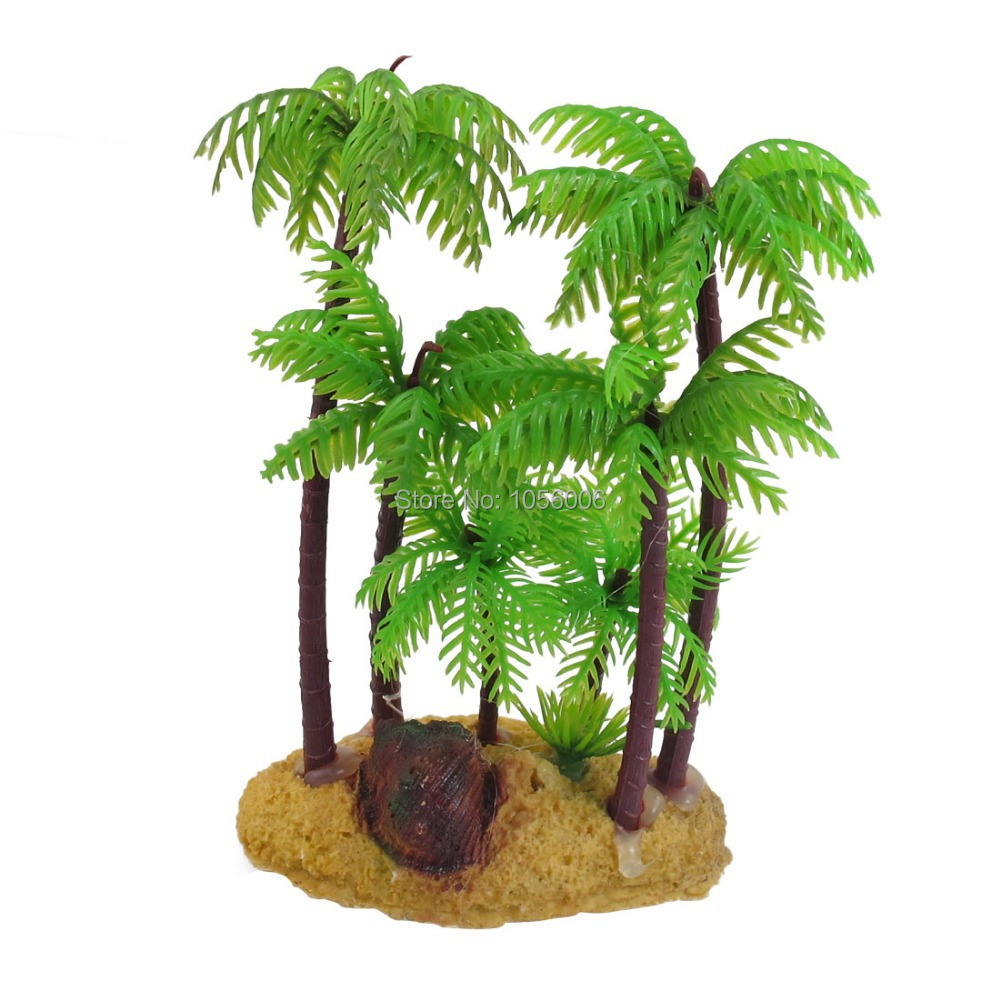 Green brown underwater aquarium fish tank ornament plastic for Artificial plants for decoration