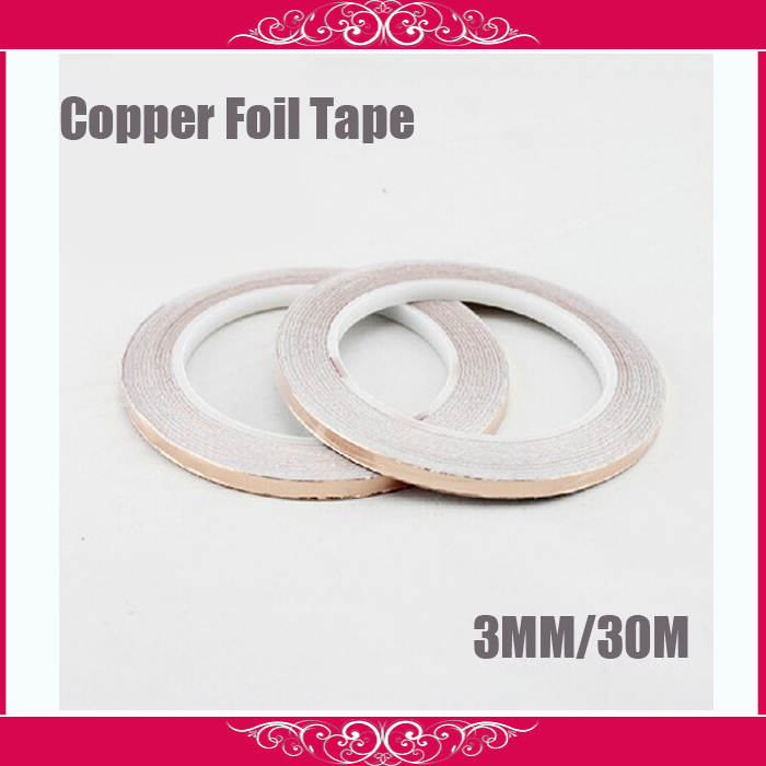 Free Shipping, 2 roll 3MM*30M Single Adhesive Conductive Copper Foil Tape EMI Shielding Copper Foil Strip for Stained Glass Work(China (Mainland))