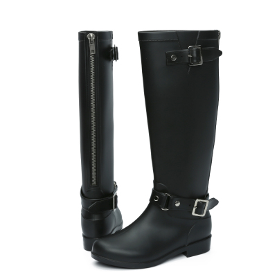Plus Size 40 41 New Rain Boots Woman Knee High With Zipper And Buckle Cool Riding Rubber Botas Winter Water Boots(China (Mainland))